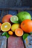 Set cytrus na drewnianym tle: pomarańcze, mandarynka, cytryna, grapefruitowa, wapno, kumquat, tangerine Świeże organicznie soczys obrazy stock
