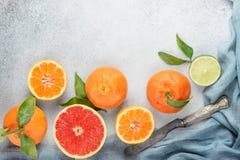 Set cytrus na stole: mandarynka, grapefruitowa, wapno, tangerine wi zdjęcie royalty free