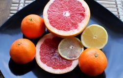 Set cytrus owoc na ciemnym glansowanym talerzu wyszczególniającym Fotografia Royalty Free