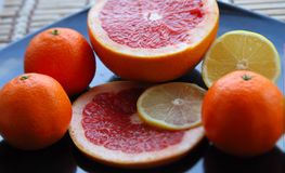 Set cytrus owoc na ciemnym glansowanym talerzu wyszczególniającym Zdjęcie Royalty Free