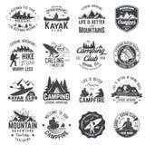 Set czółna, wycieczkować, kajaka i campingu świetlicowa odznaka, Fotografia Stock