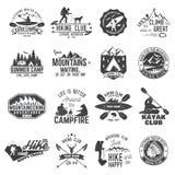 Set czółna, wycieczkować, kajaka i campingu świetlicowa odznaka, Zdjęcie Stock