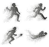 Set cząsteczek rozbieżne sylwetki futbol amerykański gracze royalty ilustracja