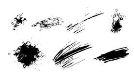 Set czarna farba, atrament, grunge, brudni muśnięć uderzenia pluśnięcia czerni set Zdjęcie Royalty Free