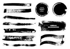 Set czarna farba, atramentu muśnięcia uderzenia, muśnięcia, linie, okręgi Brudni artystyczni projektów elementy, pudełka, ramy dl Obraz Royalty Free