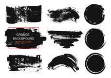 Set czarna farba, atramentu muśnięcia uderzenia, muśnięcia, linie, okręgi Brudni artystyczni projektów elementy, pudełka, ramy dl Zdjęcia Royalty Free