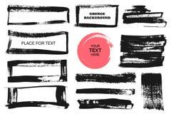 Set czarna farba, atramentu muśnięcia uderzenia, muśnięcia, linie, okręgi Brudni artystyczni projektów elementy, pudełka, ramy dl Zdjęcie Stock