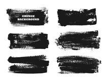 Set czarna farba, atramentu muśnięcia uderzenia, muśnięcia, wykłada Brudni artystyczni projektów elementy, pudełka, ramy dla teks Zdjęcia Stock