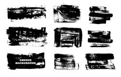 Set czarna farba, atramentu muśnięcia uderzenia, muśnięcia, wykłada Brudni artystyczni projektów elementy, pudełka, ramy dla teks Zdjęcie Stock