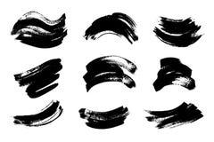 Set czarna farba, atramentu muśnięcia uderzenia, muśnięcia, wykłada Brudni artystyczni projektów elementy, pudełka, ramy dla teks Obrazy Royalty Free