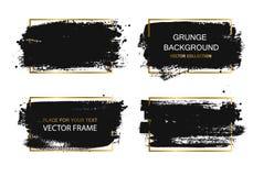 Set czarna farba, atramentu muśnięcia uderzenia, muśnięcia, wykłada Brudni artystyczni projektów elementy, pudełka, ramy dla teks Zdjęcie Royalty Free