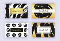 Set czarna i złocista wizytówka, szczotkarscy uderzenie projekty nowożytni abstrakcjonistyczni tła Szablony dla sztandarów, ulotk ilustracja wektor
