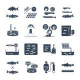 Set czarna ikony aquaculture produkcja, rybi uprawiać ziemię ilustracja wektor