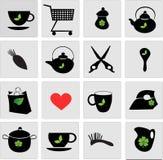 Set czarne ikony Obrazy Stock
