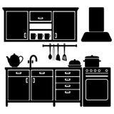 Set czarne kuchenne ikony, naczynia,  Zdjęcia Royalty Free