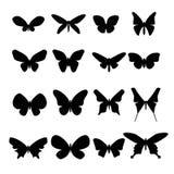 Set czarne motylie sylwetki ilustracja wektor