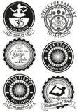 Set czarne odznaki dla joga studia Zdjęcia Stock