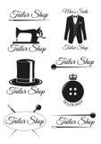 Set czarne odznaki dla krawieckich sklepów Obrazy Stock