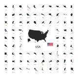 Set czarne sylwetki światowi suwerenne państwa z kraj flaga odizolowywać na bielu Obrazy Stock