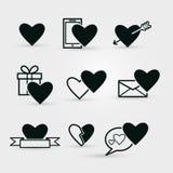 Set czarne walentynek ikony na białym tle Zdjęcie Royalty Free
