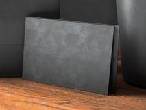 Set czarne wizytówki na drewno stole horyzontalny Fotografia Royalty Free