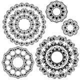 Set czarnego koloru round ornamenty odizolowywający na białym tle, Zdjęcie Royalty Free