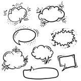 Set czarnego konturu retro komiczna mowa gulgocze ilustracja wektor