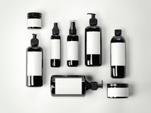 Set czarnego piękna kosmetyczni plastikowi zbiorniki świadczenia 3 d ilustracji