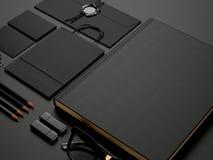 Set czarni elementy na czerń papieru tle Zdjęcia Stock