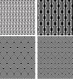 Set czarni geometryczni bezszwowi wzory z okulistycznym złudzeniem Zdjęcia Stock