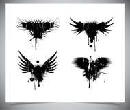 Set czarni grunge skrzydła. Obrazy Royalty Free