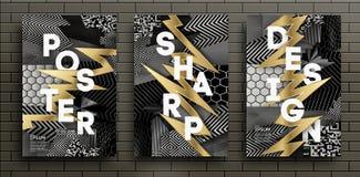 Set Czarni i Złociści Luksusowi projektów plakaty Szablony dla broszurek, ulotki, Mobilne technologie, zastosowania, i ilustracja wektor