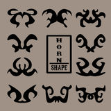 Set czarni kształta rogu zwierzęta Obraz Royalty Free