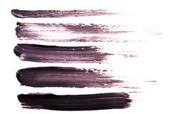 Set Czarni uderzenia tusz do rzęs na białym tle Tekstura czarny tusz do rzęs dla rzęsy isolatedon bielu Rozmaz Zdjęcie Royalty Free