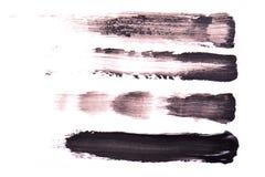 Set Czarni uderzenia tusz do rzęs na białym tle Tekstura czarny tusz do rzęs dla rzęsy isolatedon bielu Rozmaz Obraz Stock