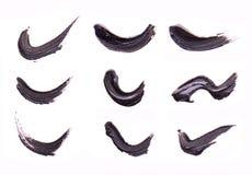 Set Czarni uderzenia tusz do rzęs na białym tle Tekstura czarny tusz do rzęs dla rzęsy isolatedon bielu Rozmaz Obrazy Royalty Free