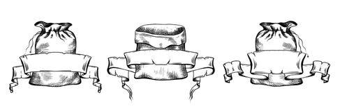 Set czarny i biały ilustracje ręka rysująca kanwa zdojest z ślimacznica pergaminu sztandarem Przedmioty odzielnie od tła royalty ilustracja