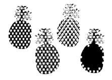 Set czarny i biały stylizowane sylwetki ananasowe owoc royalty ilustracja