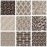 Set czarny i biały abstrakcjonistyczni bezszwowi wzory Obrazy Royalty Free