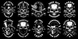 Set czarny i biały czaszki ilustracja wektor