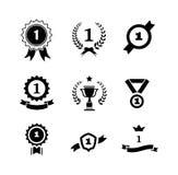 Set czarny i biały kółkowi zwycięzców emblematy Zdjęcia Stock