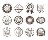 Set czarny i biały odznaki, majchery, wysokiej jakości znaki z durian owoc, Zdjęcia Royalty Free