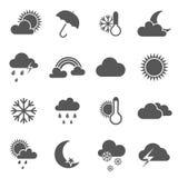 Set czarny i biały pogodowe ikony Fotografia Royalty Free