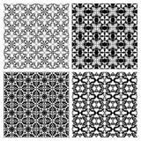Set czarny i biały prości geometryczni monoline wzory w art deco stylu Zdjęcie Royalty Free