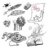 Set czarny i biały rysunki na temacie literatura i poezja Ilustracje dla książkowego projekta royalty ilustracja