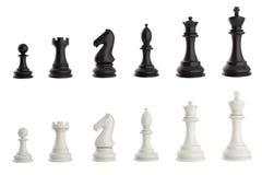Set czarny i biały szachowi kawałki Fotografia Royalty Free