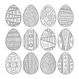 Set czarny i biały Wielkanocni jajka dla kolorystyki książki Obraz Stock