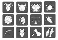 Set czarny i biały zodiak podpisuje na ciemnym tle Kwadratowe ikony wektor royalty ilustracja