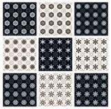 Set Czarny I Biały Bezszwowi wzory Obraz Stock