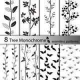 Set czarny i biały drzewni bezszwowi wzory Obraz Stock
